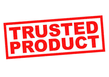 established: TRUSTED PRODUCT red Rubber Stamp over a white background. Stock Photo