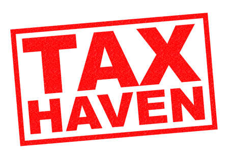 levy: TAX HAVEN red Rubber Stamp over a white background. Stock Photo