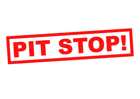 stoppage: PIT STOP! red Rubber Stamp over a white background.