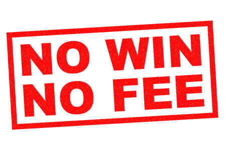 fee: NO WIN NO FEE red Rubber Stamp over a white background.