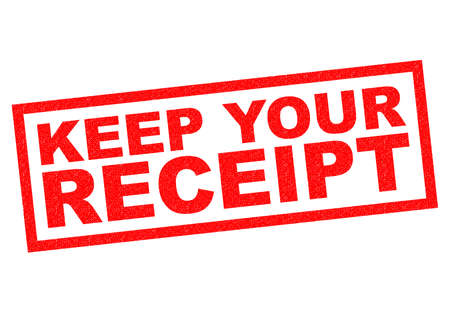 receipt: KEEP YOUR RECEIPT red Rubber Stamp over a white background.