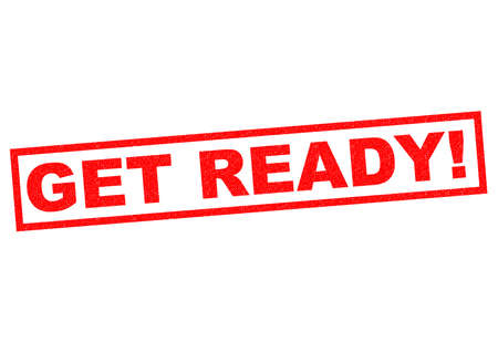 get ready: GET READY! red Rubber Stamp over a white background.