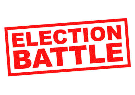 mayoral: ELECTION BATTLE red Rubber Stamp over a white background.