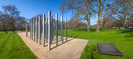 bombings: A panoramic view of the Memorial in Hyde Park in memory of the victims of the 7th July London Bombings. Stock Photo
