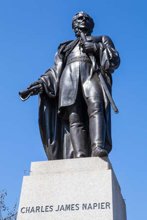 british army: A statue of Charles James Napier, a former General in the British Army, situated in Trafalgar Square in London. Editorial