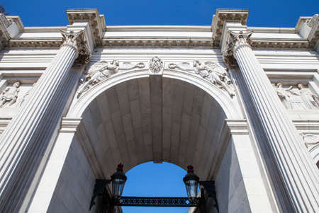 and the magnificent: Looking up at the magnificent Marble Arch in London.