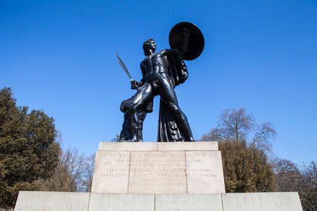 commemorate: The magnificent Wellington Monument in Hyde Park, London.  The monument is to commemorate Arthur Wellesley, the first Duke of Wellington and his successful campaigns in the Peninsular War and Napoleonic Wars.