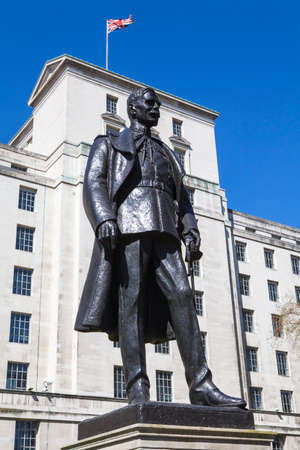 royal air force: A statue of Hugh Trenchard (1st Viscount Trenchard), a British Officer who was instrumental in setting up the Royal Air Force, situated along the Victoria Embankment in London.