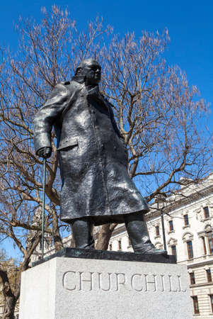 the prime minister: A statue of arguably Britain's most iconic Prime Minister Sir Winston Churchill, located on Parliament Square in London. Stock Photo