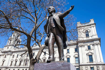 the prime minister: A statue of former British Prime Minister David Lloyd George situated on Parliament Square in London.