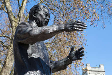 nelson: A statue of former South African President Nelson Mandela, situated on Parliament Square in London. Stock Photo