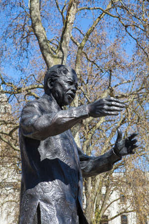 mandela: A statue of former South African President Nelson Mandela, situated on Parliament Square in London. Stock Photo