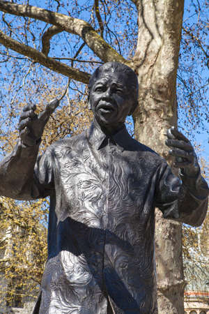 parliament square: A statue of former South African President Nelson Mandela, situated on Parliament Square in London. Stock Photo