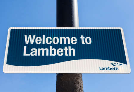 brixton: LONDON, UK - APRIL 14TH 2015: A Welcome to Lambeth sign on a pedestrian pathway in London on 14th April 2015.