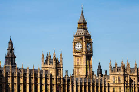 election: A view of the iconic clock tower of the Houses odf Parliament in London.