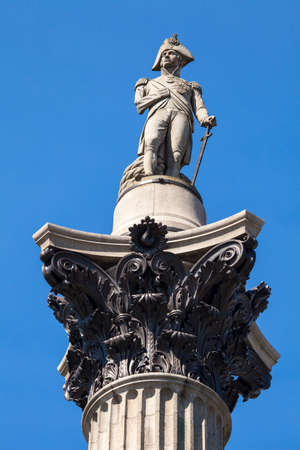admiral: Admiral Horatio Nelson sitting proudly ontop of Nelsons Column in Trafalgar Square, London. Editorial