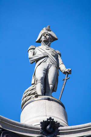 nelson: Admiral Horatio Nelson sitting proudly ontop of Nelsons Column in Trafalgar Square, London. Editorial