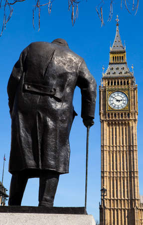 the prime minister: A statue of arguably Britain's most iconic Prime Minister Sir Winston Churchill, located on Parliament Square in London. Editorial