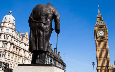 parliament square: A statue of arguably Britain's most iconic Prime Minister Sir Winston Churchill, located on Parliament Square in London. Editorial