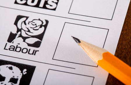 mayoral: LONDON, UK - MAY 7TH 2015: The Labour Party on a UK Ballot Paper for a General Election, on 7th May 2015.