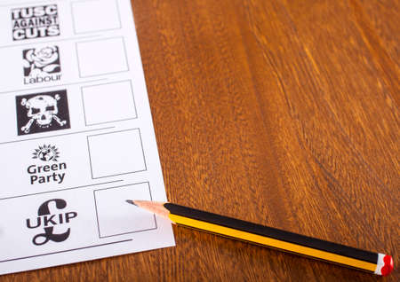 mayoral: LONDON, UK - MAY 7TH 2015: A Ballot Paper and Pencil for a British General Election, on May 7th 2015. Editorial
