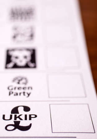 conservatives: LONDON, UK - MAY 7TH 2015: The UKIP (UK Independence Party) on a Ballot Paper, on 7th May 2015.