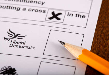 conservatives: LONDON, UK - MAY 7TH 2015: Liberal Democrats on a UK Ballot Paper for a General Election, on 7th May 2015. Editorial