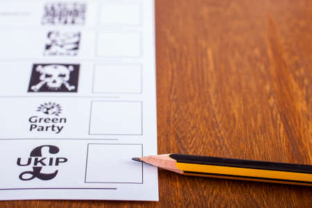 mayoral: LONDON, UK - MAY 7TH 2015: UKIP (UK Independence Party) on a Ballot Paper for a General Election, on 7th May 2015.