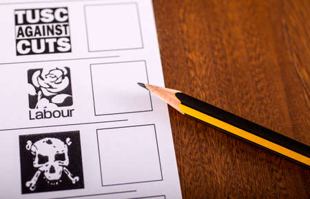ballot paper: LONDON, UK - MAY 7TH 2015: The Labour Party on a UK Ballot Paper for a General Election, on 7th May 2015.