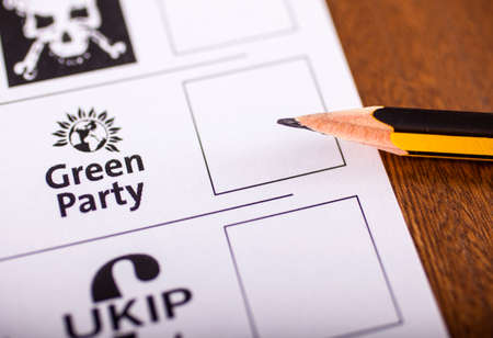 conservatives: LONDON, UK - MAY 7TH 2015: The Green Party on a UK Ballot Paper for a General Election, on 7th May 2015. Editorial