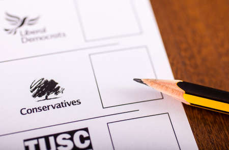 conservatives: LONDON, UK - MAY 7TH 2015: Conservatives on a UK Ballot Paper for a General Election, on 7th May 2015.