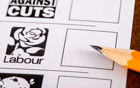 conservatives: LONDON, UK - MAY 7TH 2015: The Labour Party on a UK Ballot Paperfor a General Election, on 7th May 2015.