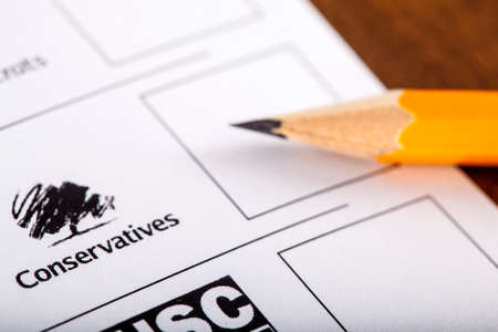 mayoral: LONDON, UK - MAY 7TH 2015: The Conservative Party on a UK Ballot Paper for a General Election, on 7th May 2015.