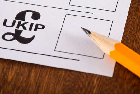 mayoral: LONDON, UK - MAY 7TH 2015: UKIP (UK Independence Party) on a UK Ballot Paper for a General Election, on 7th May 2015.