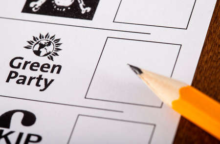 LONDON, UK - MAY 7TH 2015: The Green Party on a UK Ballot Paper for a General Election, on 7th May 2015. Editorial