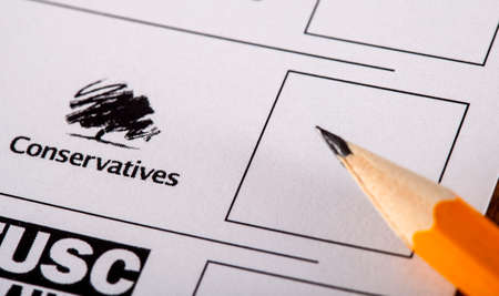 LONDON, UK - MAY 7TH 2015: The Conservative Party on a UK Ballot Paper for a General Election, on 7th May 2015.