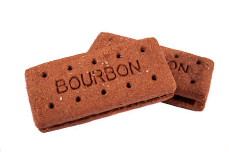 biscuit: Bourbon Biscuits over a plain white background. Stock Photo