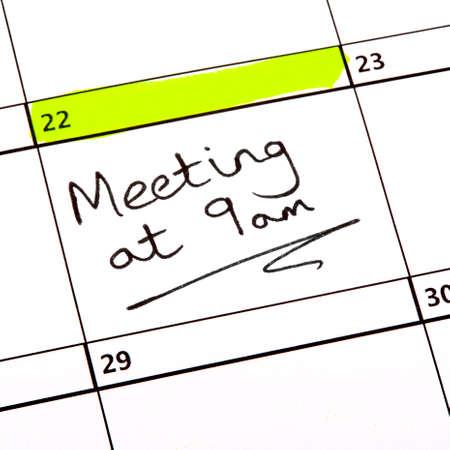A Meeting Date highlighted on a Calendar. photo