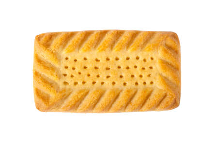 shortcake: A Shortcake biscuit over a plain white background. Stock Photo