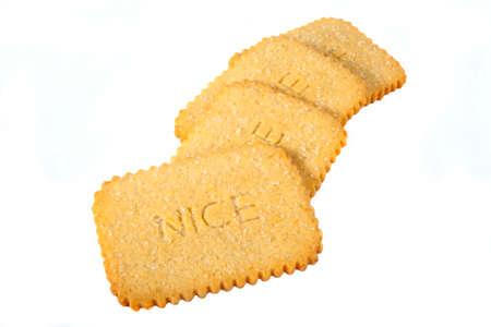 nice food: Nice Печенье на белом фоне. Фото со стока