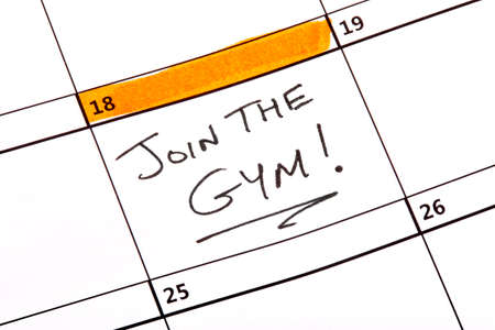 written date: A date written on a calendar to join the gym.