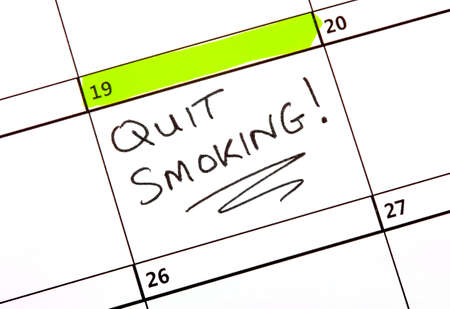 quit smoking: A date highlighted on a Calendar to quit smoking.