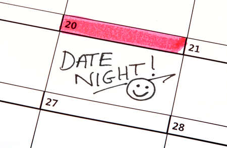 A Date Night Highlighted on a Calendar.