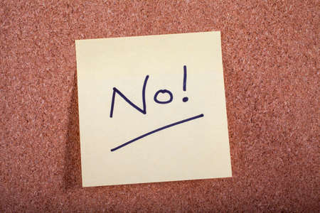noticeboard: No! Message on a Noticeboard. Stock Photo