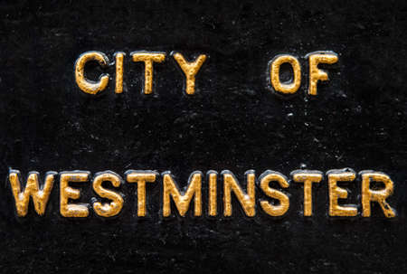 westminster city: City of Westminster spelt in gold lettering. Editorial