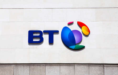 plc: LONDON, UK - JUNE 18TH 2015: The BT Logo located on their headquarters in Newgate Street, London on 18th June 2015.