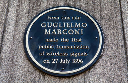 pioneering: A plaque in Newgate Street, London marking the location where Guglielmo Marconi made the first public transmission of wireless signals in 1896.