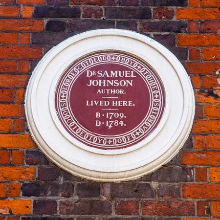 samuel: A plaque marking Dr. Samuel Johnson's former residence in Gough Square, London.