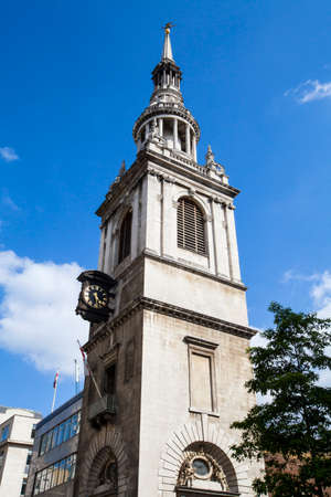 true born: A view of the tower of St. Mary-le-Bow Church in the City of London. Tradition says that anybody born within hearing distance of its Bells is a true 'Cockney'. Stock Photo