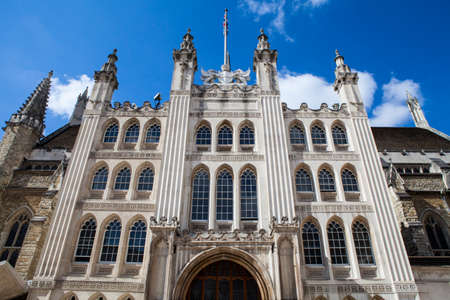 guildhall: Looking up at the impressive facade of Guildhall in London.